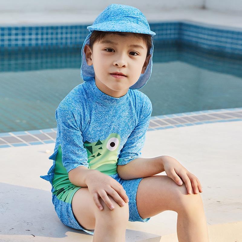 Cartoon Suits simpatico dinosauro per i ragazzi e le ragazze e le ragazze saltano costume intero pugile del ragazzo cappello da sole ch protezione solare vestito dei bambini del ragazzo