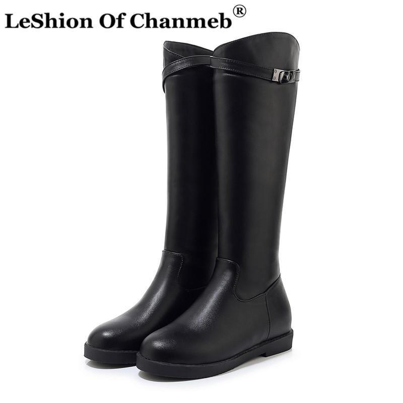 Метал Лок колено высокие сапоги для женщин Размер 33-43 Белый Черный Длинные сапоги низкий каблук Теплые зимние ботинки дизайнер обуви