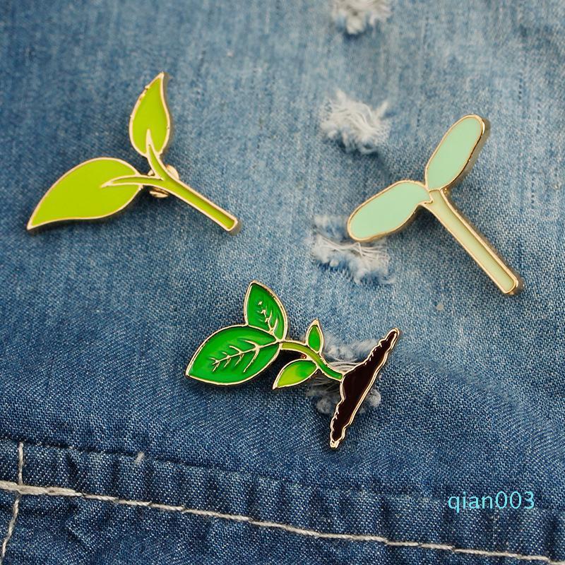 Pin spilla gioiello Verde Foglia Germoglio di fagioli duro smalto spilla Pin Spille Badges Panno accessorio della borsa regalo KKA6912