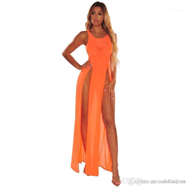 Paneles Mujer Ropa de Verano de Split puro color del diseñador de moda de baño mujeres playa de las mujeres cubre sube atractivo