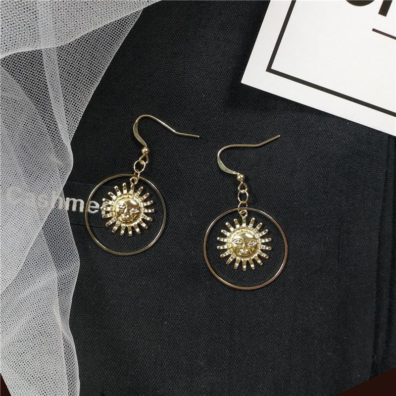 Dangle Ear Earrings Hollow Women Stud Round Ladies Simple Wedding Fashion Girls Party Rose Gold Color Boho Zinc Alloy Kolczyki