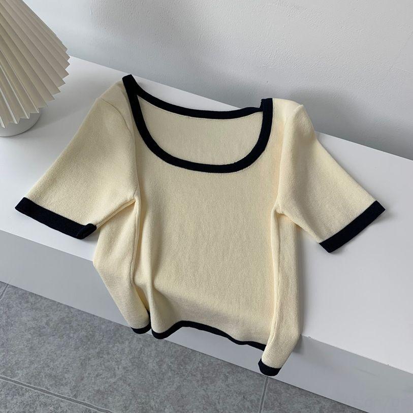 EWXy1 Tangzhi 2020 finas cor sólida curto cor de contraste em torno do pescoço Cueca manga curta das mulheres de verão de malha camisa simples sh base de fino