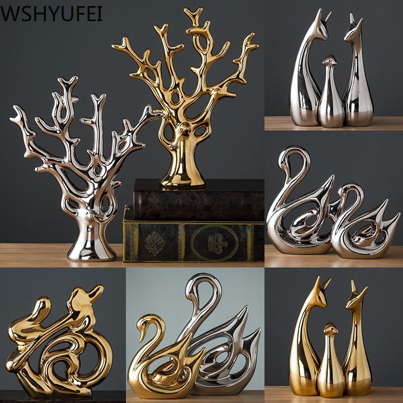 Modern Ceramic Animal Decorative Statue Deer Porcelain Figurine Home Desktop Decor Christmas Birthday Wedding Gift