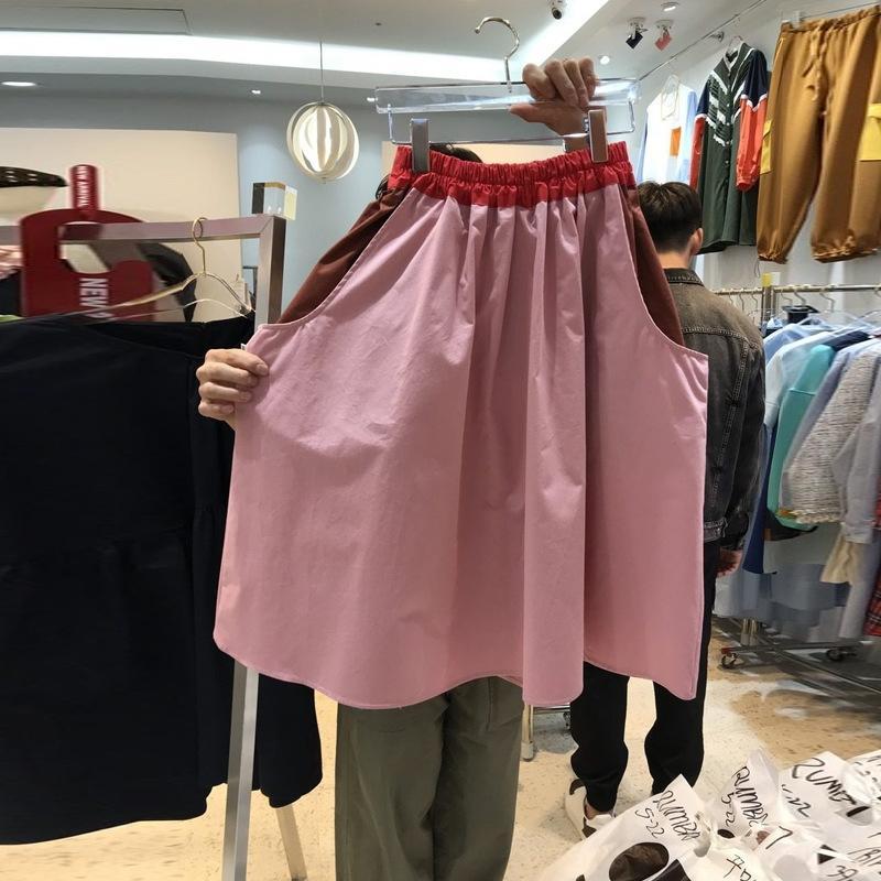 Zgi2J coreana Dongdaemun solta saia 2020 cinto de Verão elástica cor solta contraste costura saia nova cintura para as mulheres