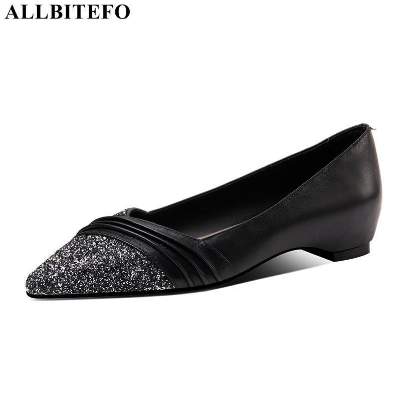 ALLBITEFO echtes Leder + Pailletten mit niedrigen Absätzen bequeme Frauenschuhe starke Fersen Büro Damen Schuhe Frauen-Absatz