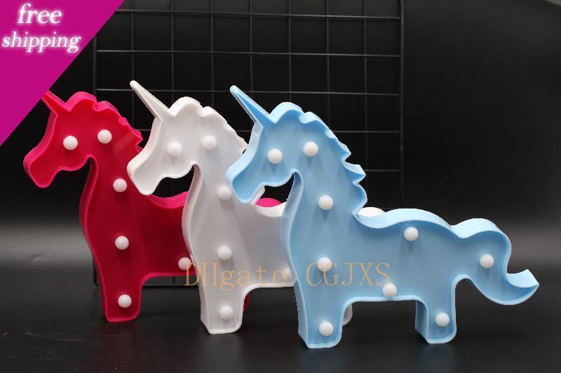 2019 Boa Qualidade Unicornio Led Night Lights Unicorn partido 3D sinal de LED Abajur novidade animal Marquee Carta Lamp Luminaria bebê Crianças