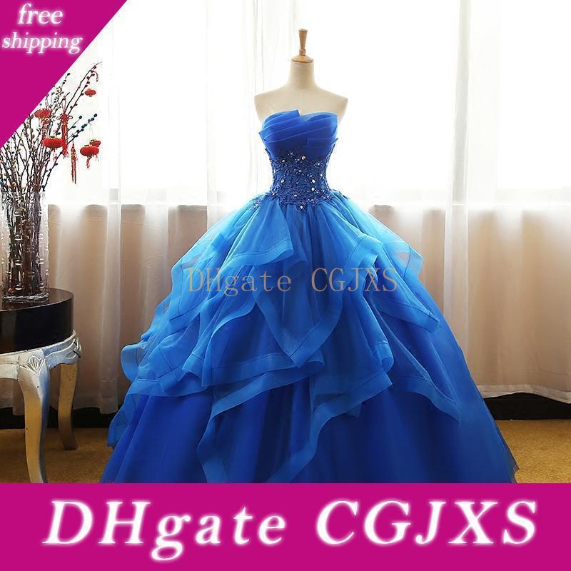 Prom Dress Fancy Royal Blue abito di sfera reale Immagine Quinceanera abiti senza spalline Organza partito convenzionale abito con strati di Tulle Applique floreale