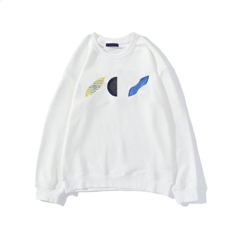 20FW geometrica ricamo floreale con cappuccio moda per le donne del maglione di inverno degli uomini Felpa Pullover Homme Streetwear Abbigliamento M-2XL