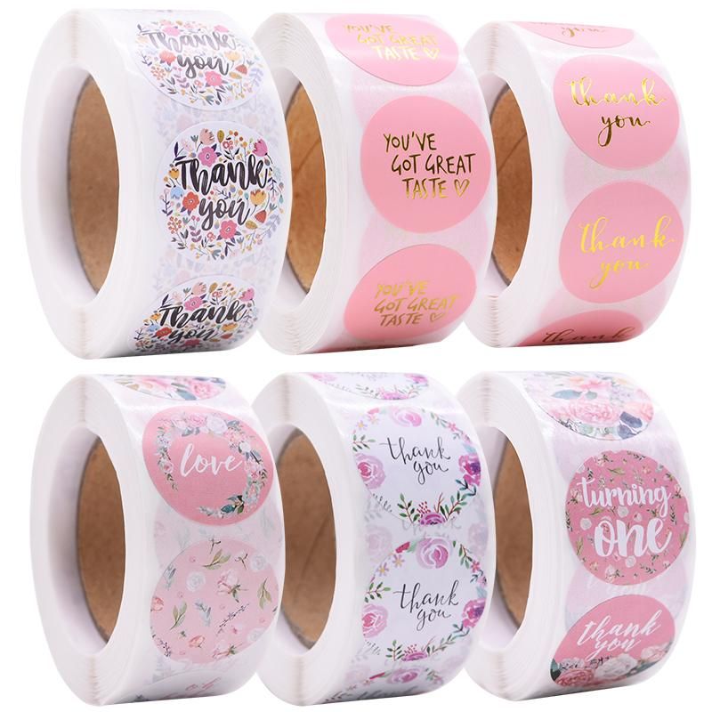 Amais Gift Sealing Stickers 500pcs Thank you Love Design Diary Scrapbooking Stickers Festival Birthday Party Gift Decorations Lab