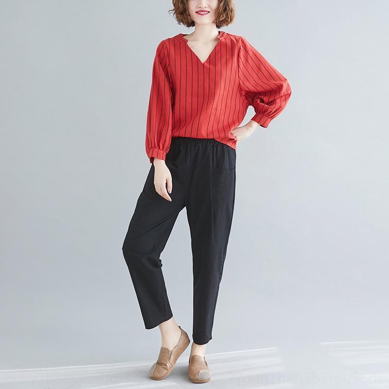 FObCs Vuyxx 2020 Весна костюма большие брюки набора и осень размера Top новые женщины V-образный вырез хлопок и лен верхней рубашка шаровары костюм