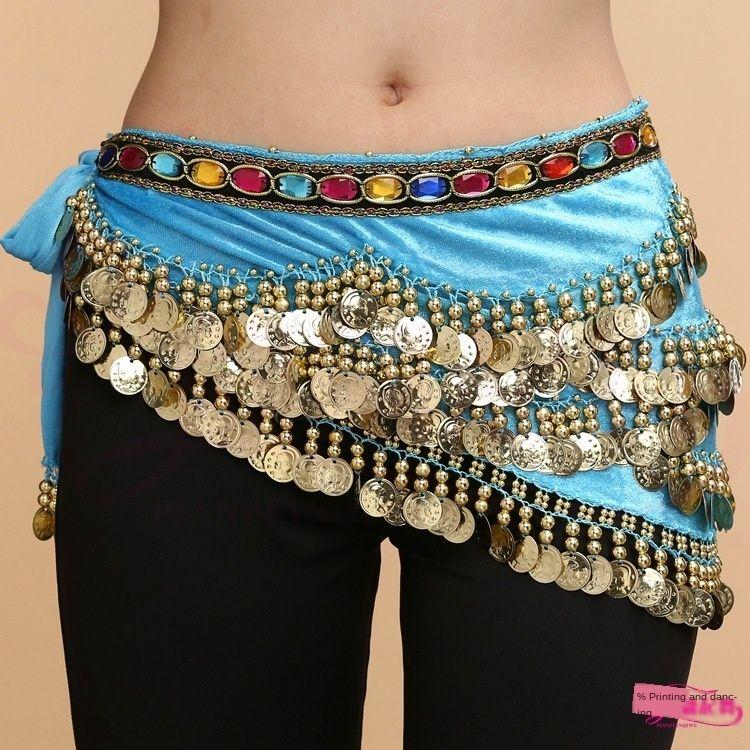 Preço especial barriga 328 cadeia de novas moedas de suspensão de diamante colorido diamante cadeia de cintura cintura dança do ventre desempenho dança indiana RUgdx