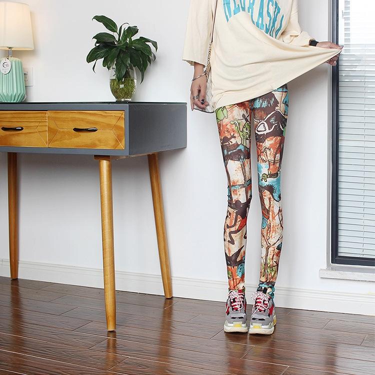 2ecDa плотный плотный барс печати цвет модный персонализированный все-матчевую шаблон новые брюки 2020 женские сексуальные лосины щиколоток штаны