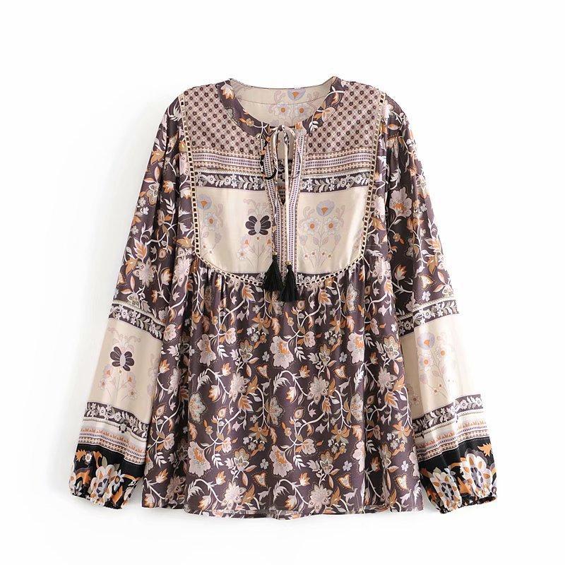 Frauen floral druck blusen shirts 2021 neue böhmische strand urlaub blusen ryon baumwolle langarm quaste crew neck casual bluse tops chic