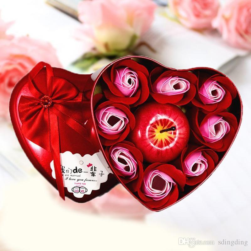 Wholesale Christmas Gifts Heart Shape Bath Body Rose Soap Flower Apple Shape Scent Candle Valentine's Day Birthday Xmas Gift Box DBC VT