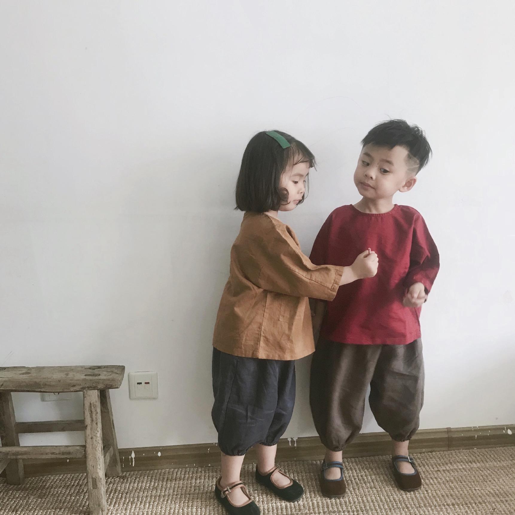 FM Japan Korean Autumn Kids Little Boys Blank Pants Organic Linen Cotton Winter Elastic Wasit Trousers Spring Unisex Children Girls Trousers