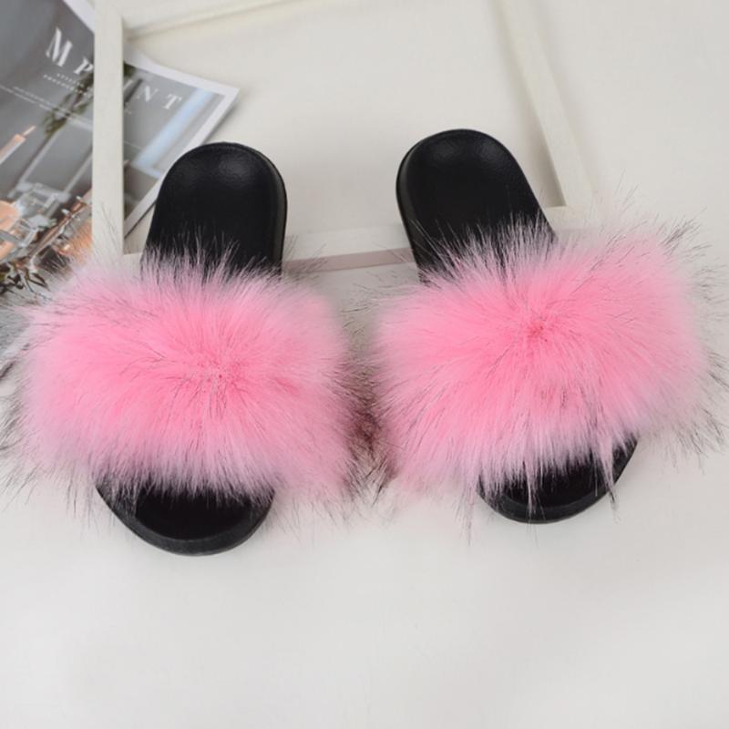 Mulheres Furry Chinelos de Senhoras sapatos cabelo bonito Plush Macio sandálias femininas Fur Chinelos 2020 New Verão Casual Plano 3