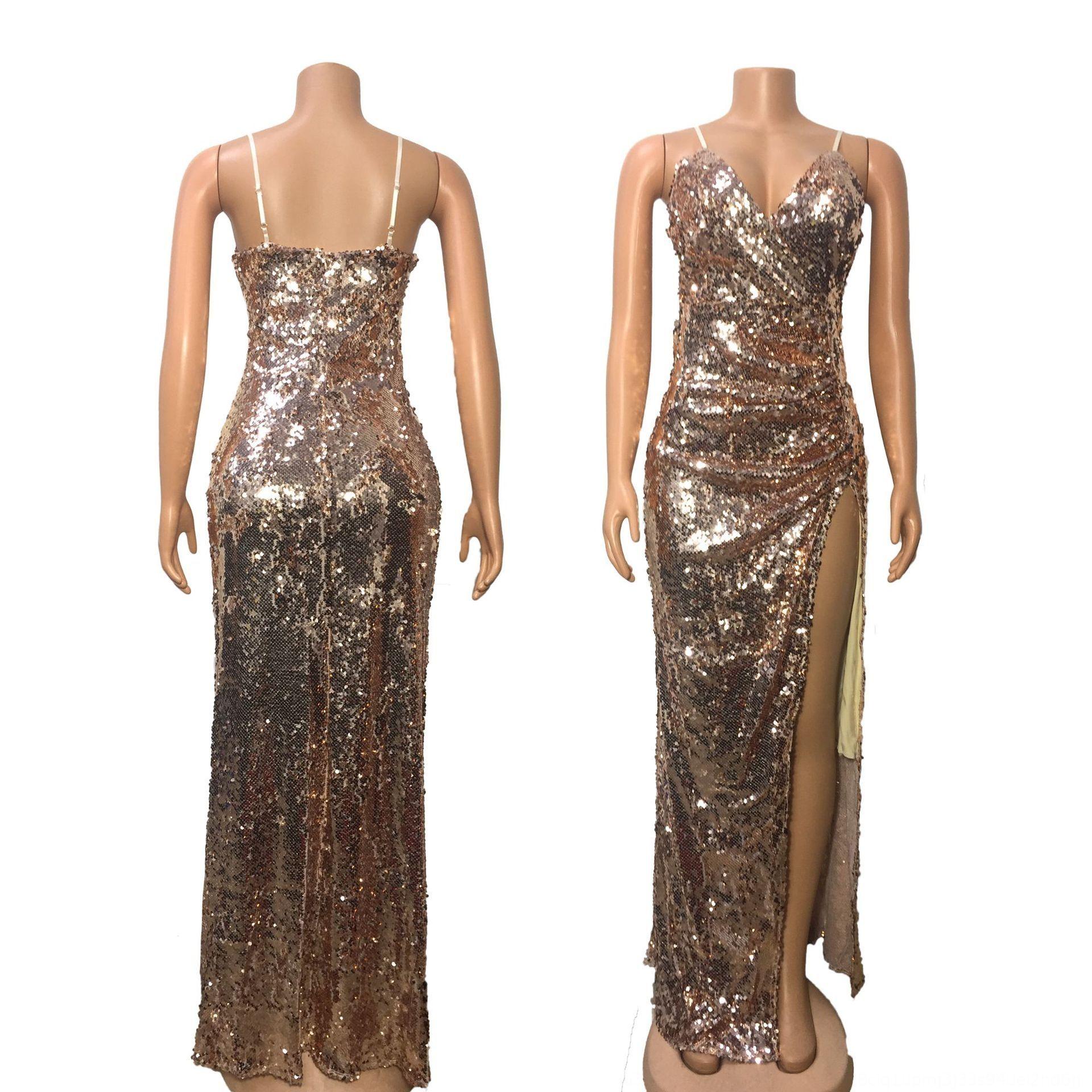 Yüksek Pullu 1069 kadın yeni seksi askı sapan Yüksek uzun elbise bölünmüş uzun 1069 kadın yeni seksi askı sapan payet elbise bölmek