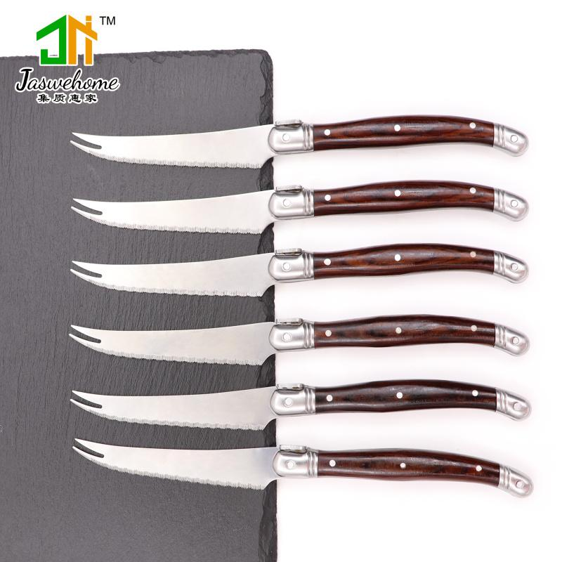 Jaswehome 6pcs laguiole steak knife set full tang table knife serrated steak laguiole knives kitchen accessories