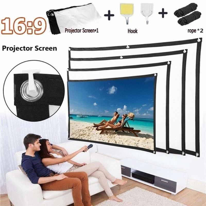 2020 Novo 100 / 120inch 16: 9 portátil de tela dobrável Projector Tela HD Home Theater Outdoor Camping filme 3D Canvas kMo5 #
