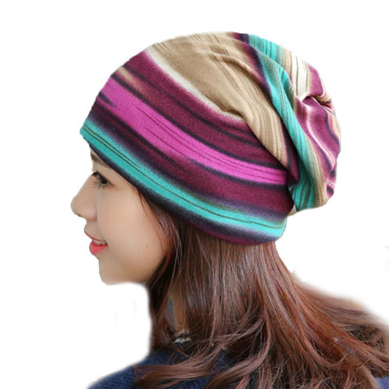 Edad Mujeres rayas Gorros Skullies dos utilizados Casual Tapas de la bufanda del sombrero Mujer de algodón del resorte del otoño Caps sombreros capo