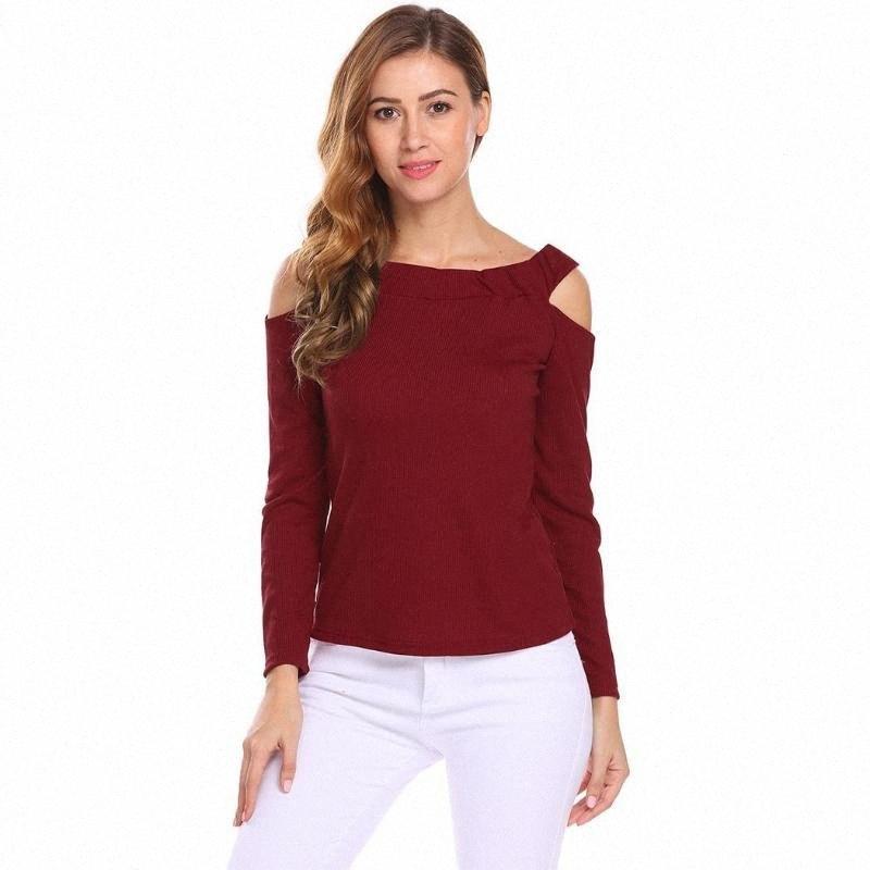 Femmes Encolure Cut Out long collier Slash manches texturé Printemps décontracté, tricotée Automne T-shirt Slim Tops w7oS #