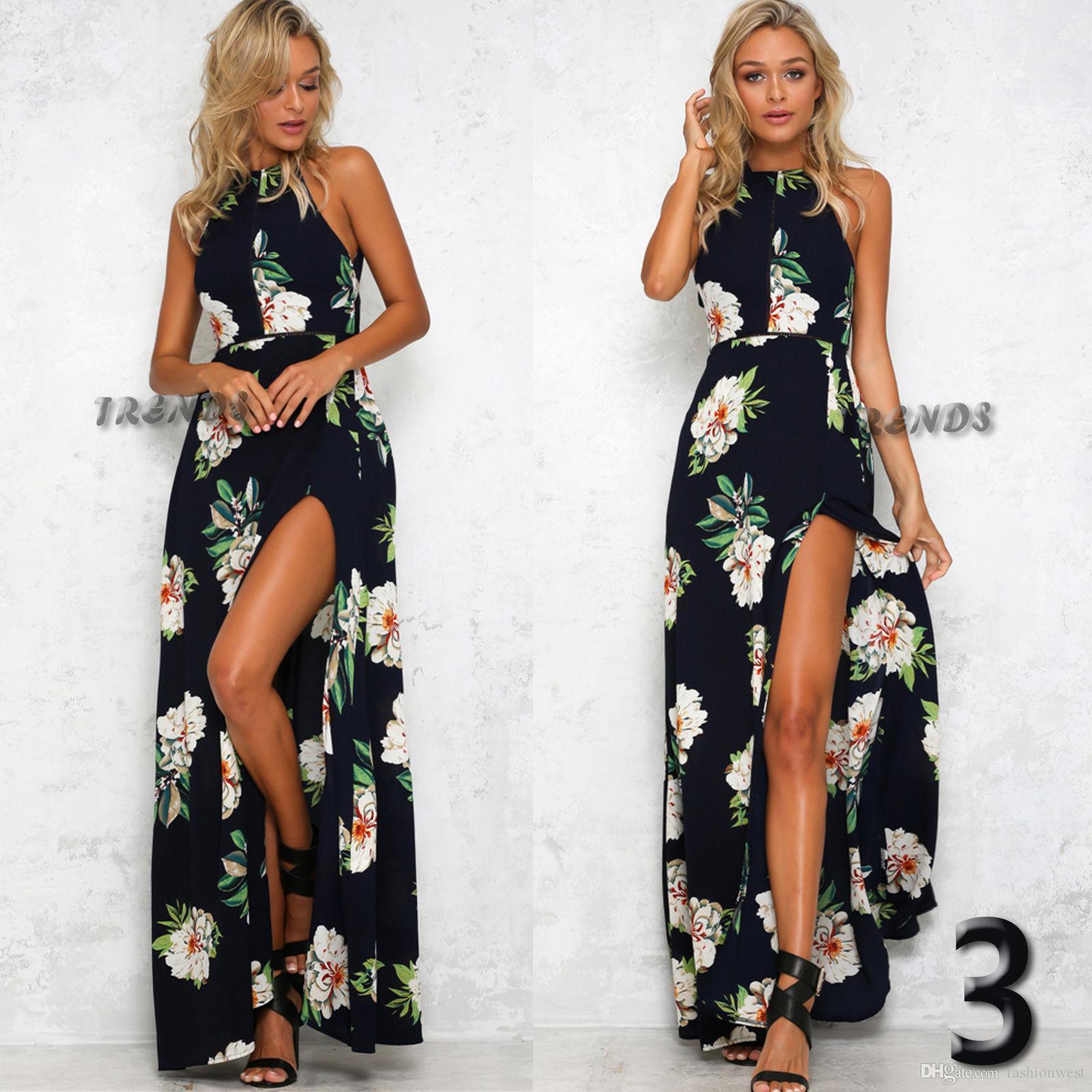 무료 배송 여성 드레스 휴일 민소매 롱 스커트 여름 접합 비치 스커트 여성의 수영복 선 비치 드레스 로브 인쇄하기
