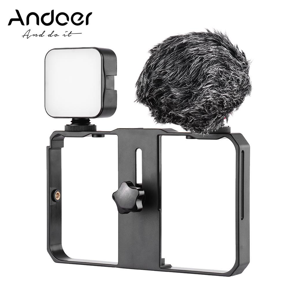 AndoerSmartphoneVideoCageKitIncludingMiniLEDFillLights + MiniMicrophonewithShockMountWindScreen + HandheldSmartphoneVideoBracket3ColdShoeMounts