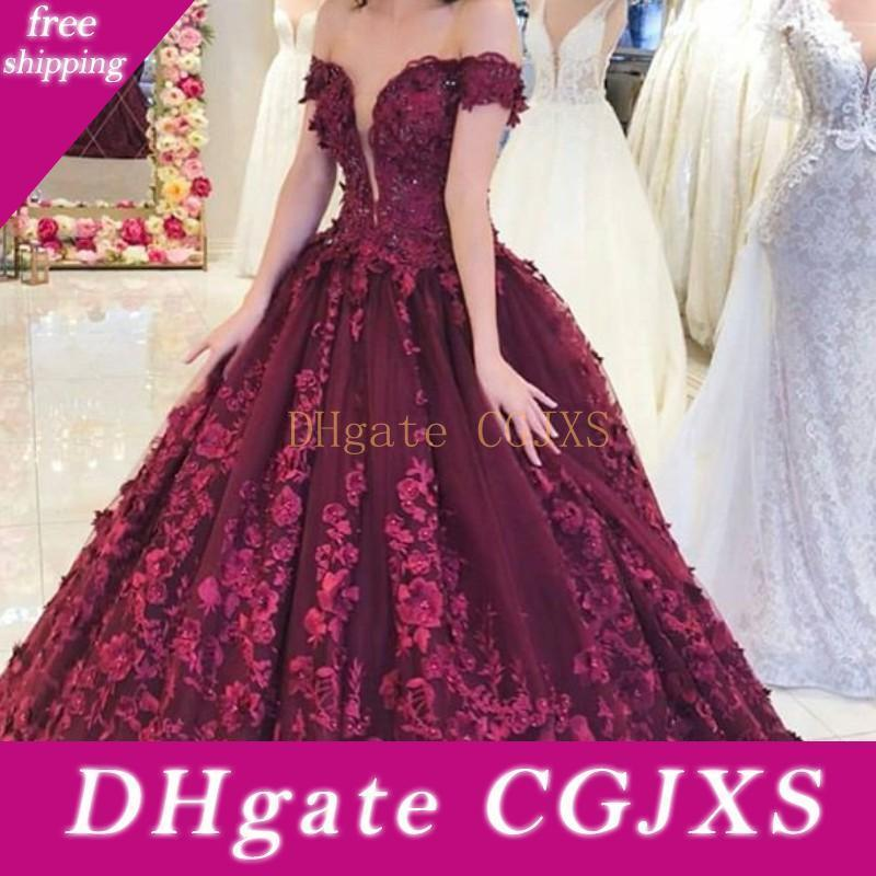 Uva 2019 Longo Prom Dress 3d Flowers Lace Applique Puffy vestido de baile vestido de festa Arábia Saudita Alças Beaded vestido de noite
