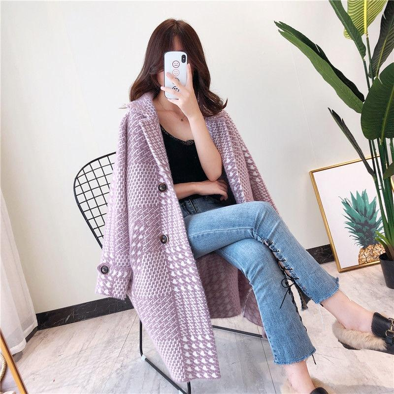 1IShV Autumn and winter New imitation mink velvet square collar over the knee loose coat large size mid-length knitted cardigan coat women's