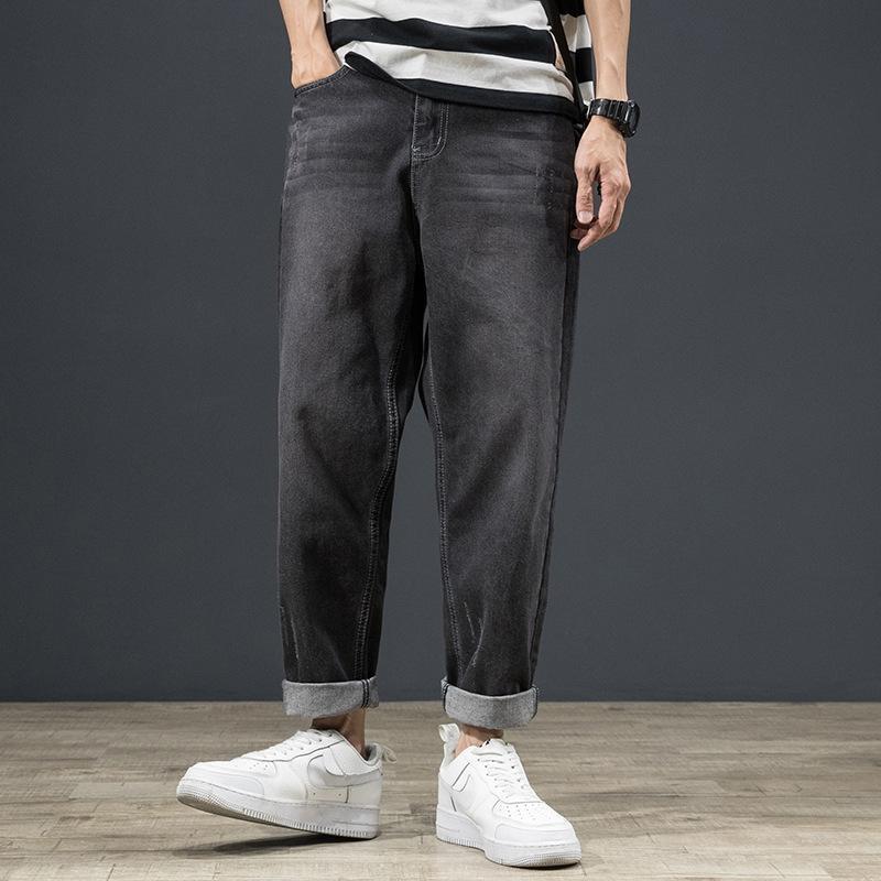 pantalones vaqueros E3rhO delgada del todo-fósforo de Estudiantes Jóvenes ancha de moda de los hombres rectos del verano - pantalones vaqueros de los pantalones anchos de la pierna de los pantalones de la pierna de los hombres