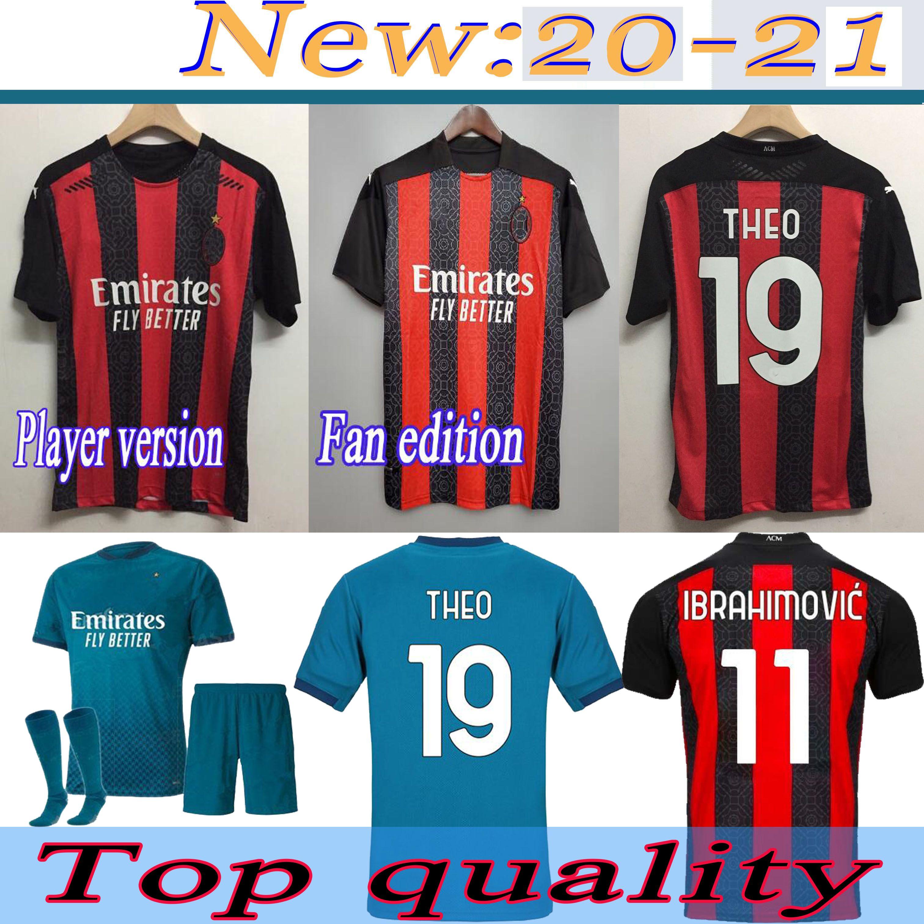 Adult suit kids suit IBRAHIMOVI AC milan soccer jerseys 2020/2021 Player version Fan edition soccer shirts Customized men Football Uniforms