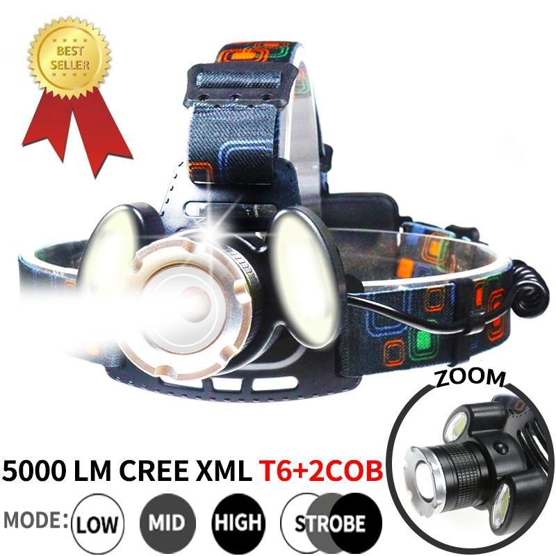 XML T6 LED 2 * COB phares plongée sous-marine Lampe frontale rechargeable 18650 5000LM Zoom tête Lampe torche phare étanche