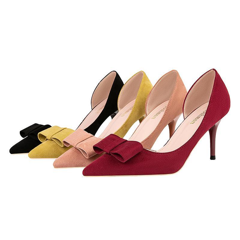 zapatos de tacón alto del estilete talones dulces solos zapatos de la boca baja puntiagudo ante atractivo hueca arco de las mujeres