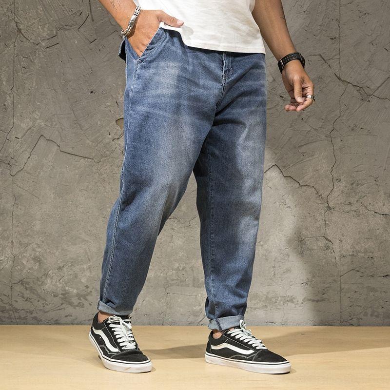 vSCfh Moda br grande moda di lavaggio degli uomini slaccia elastico dei jeans della vita e jeans e grandi pantaloni in denim elastico in vita YB211