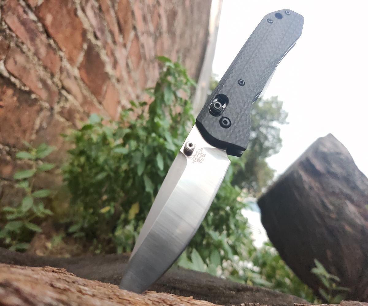 """2020 Benchmade 761 Carbon Fiber Tipo: AXIS® Knife (3.31"""" raso) Lama in polvere M390 piastra in acciaio inox, materiale reale, falso, rimborso completo"""