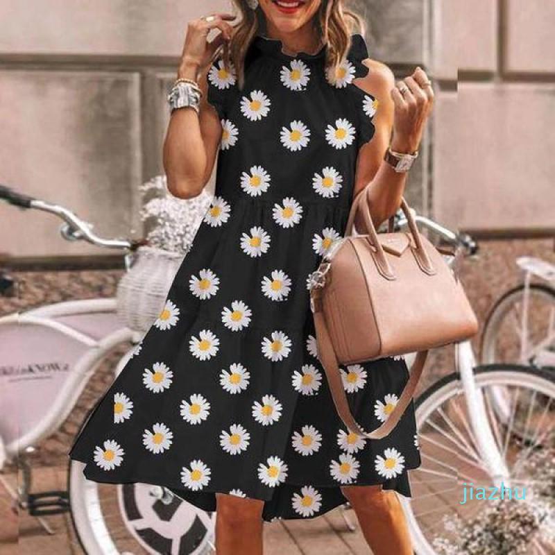 Горячие продажи дизайнер Полька Dot платья моды Контраст цвета O шеи рябить Одежда женщин без рукавов повседневные платья женщин