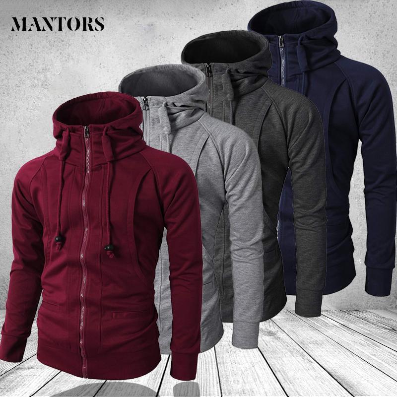 Hip Hop Zipper Hooded Sweatshirt Men 2020 Spring Casual Solid Hoodies Sweatshirts Male Brand Streetswear Jackets Red Black 3XL CX200819