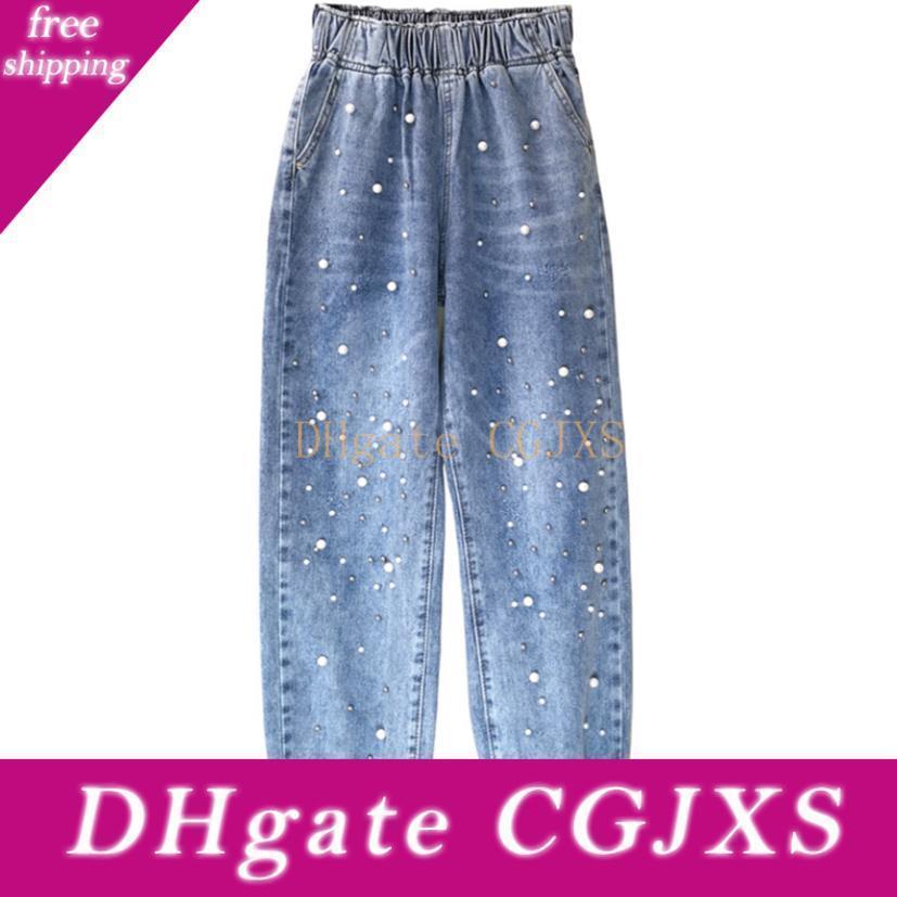 Kadınlar Kot Harem Jeans Casual Denim Pantolon Bel Stretch Gevşek Jeans Plus Size