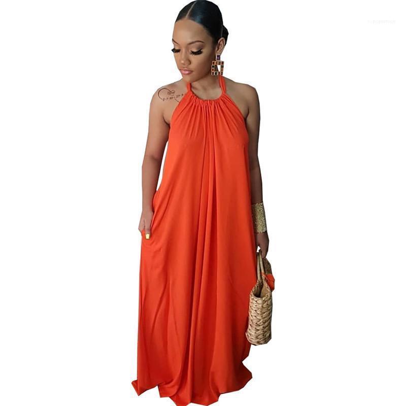 Out Halter Taschen Kleider Mode-Art-Frauen-Kleidungs-Sommer-Frauen-beiläufige Kleider Fest Farbe gedruckt ärmelHohl