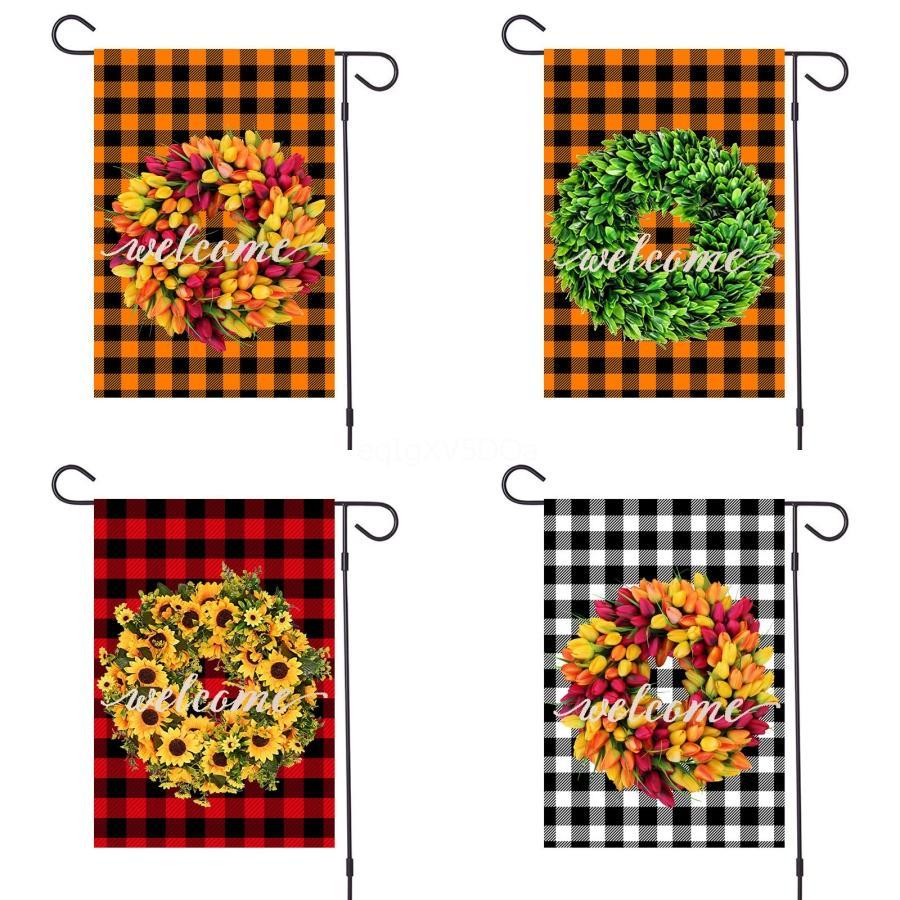 Boş Bahçe Bayrağı Çuval bezi Asma Bayrağı Taşınabilir Jüt Ruffles Banner Paskalya Bahçe Dekor # 894