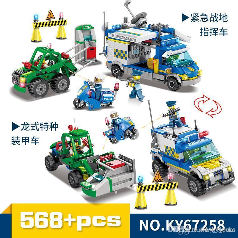 Asamblea Creador Conjunto de aeronaves modelo de coche de bloques de construcción de la ciudad del robot policía Figuras Ladrillos Educación Camión bricolaje juguetes para los niños Juguetes 04