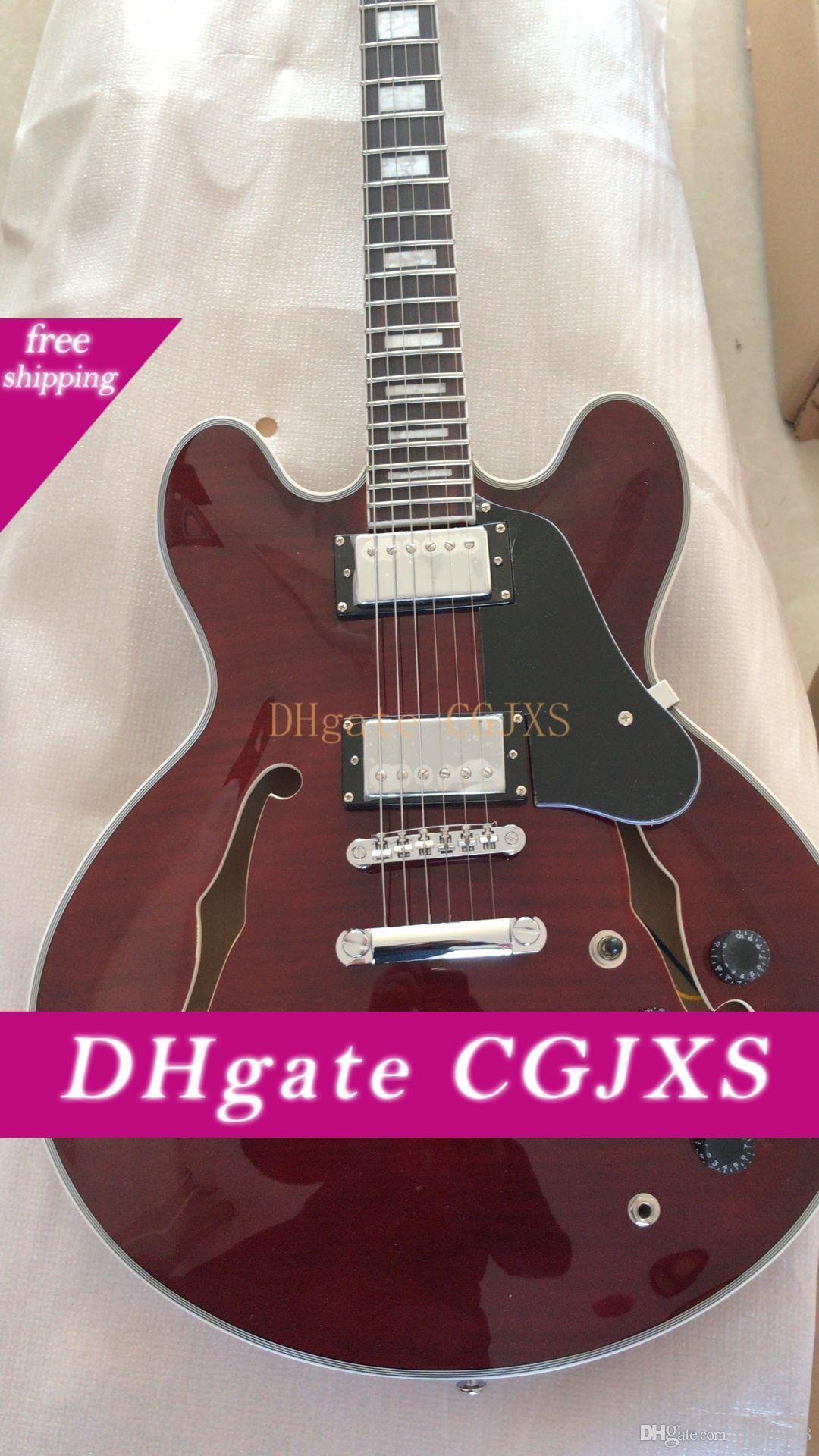 Freies Verschiffen! Großhandelsqualitäts-Jazz elektrische Gitarre im Wein-Rot, Halb -Hollow Gitarre mit Palisander Freboard .Can Be 180.225 Customed