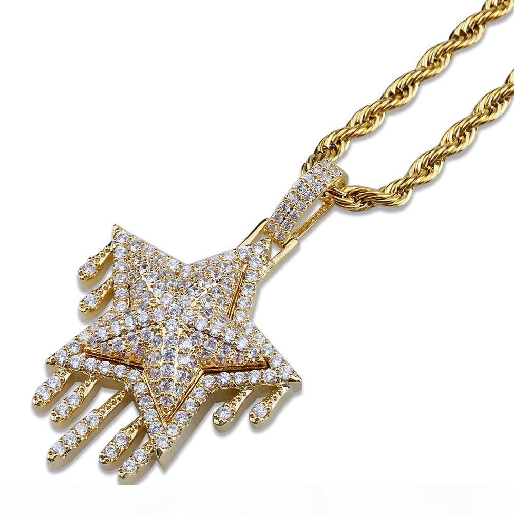 mens gioielli collane d'oro hip hop gioielli color rame bianco zircone ghiacciato fuori catena retrò ciondolo stella mens all'ingrosso di modo collana
