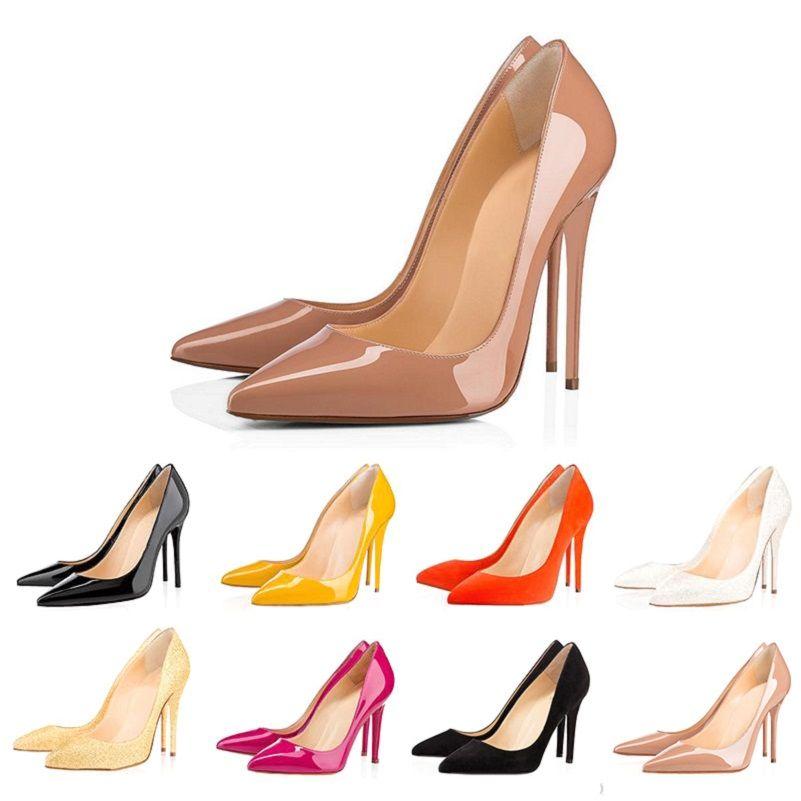 Christian louboutin  CL fondo pizzo pompe tacchi delle donne di nozze di alta partito triple yellow nudo pink glitter punte dei piedi delle donne dei pattini di vestito 35-42