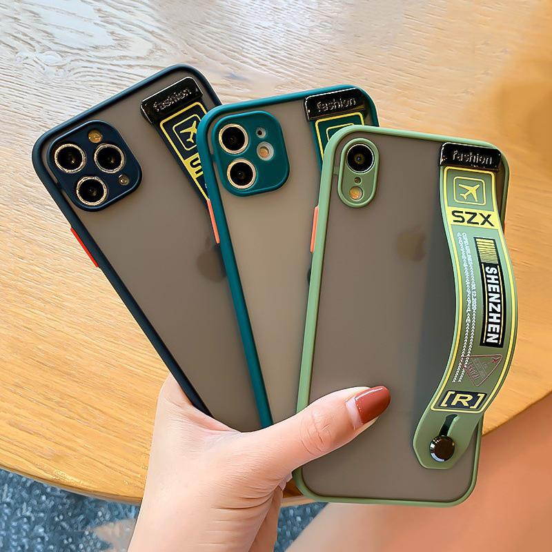 Trendy Air Ticket Camera Protection Matte Wrist Strap Holder Case for iPhone 11 Pro Max XR 6S 7 8 Plus X XS Max