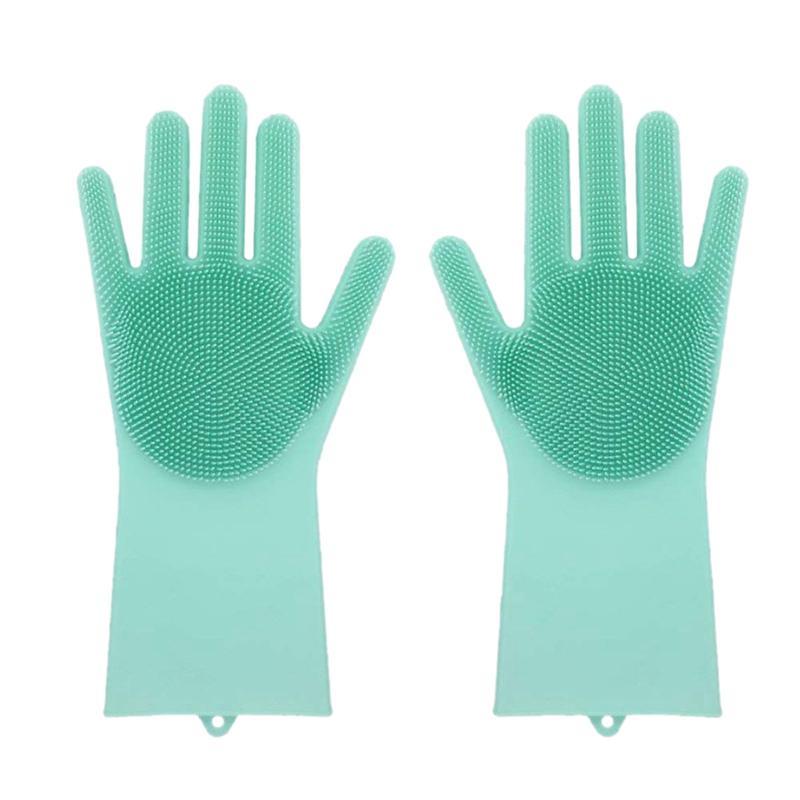 1 par de silicona Plato de guantes de goma depurador de la categoría alimenticia de limpieza de la esponja guantes para lavar platos Brushs silicón magia