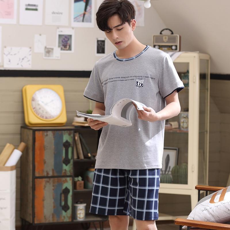 rpqtv 2020 Sommer neue Herren-Pyjama home Pyjamas tragen Abnutzungs lässig Kurzarm-Shorts Pullover Außen Baumwollbeiläufigen