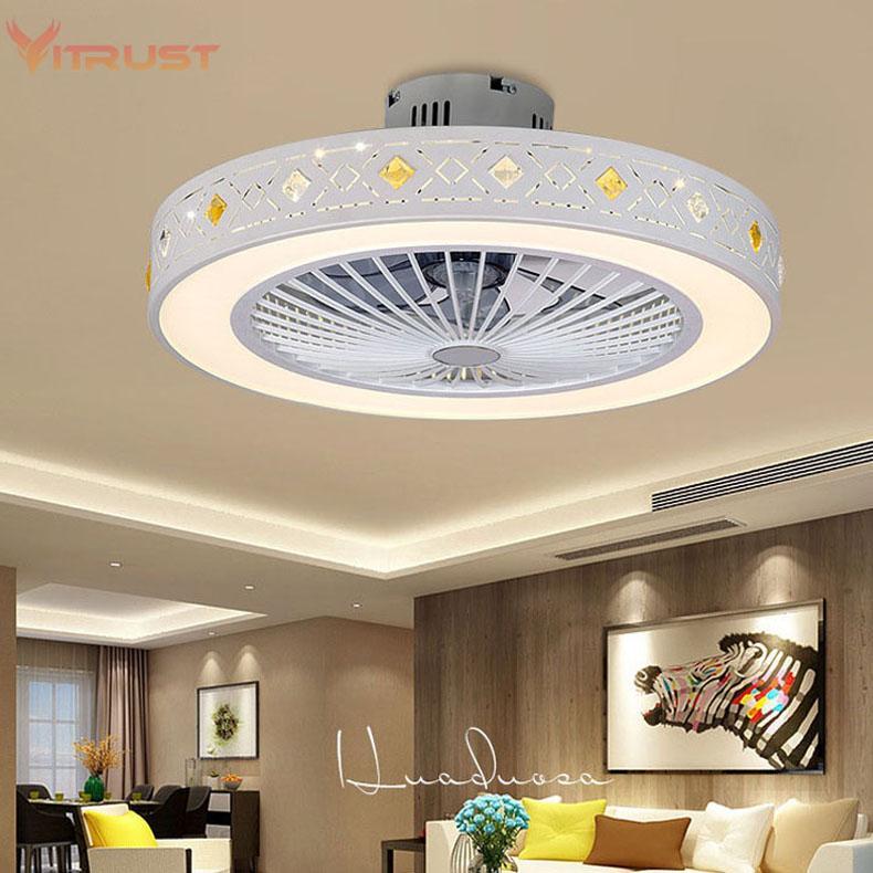 Mode ventilateur de plafond minimaliste avec lampe intérieure ventilateur de plafond à la maison avec lampe chambre dimmable 110V / 220V