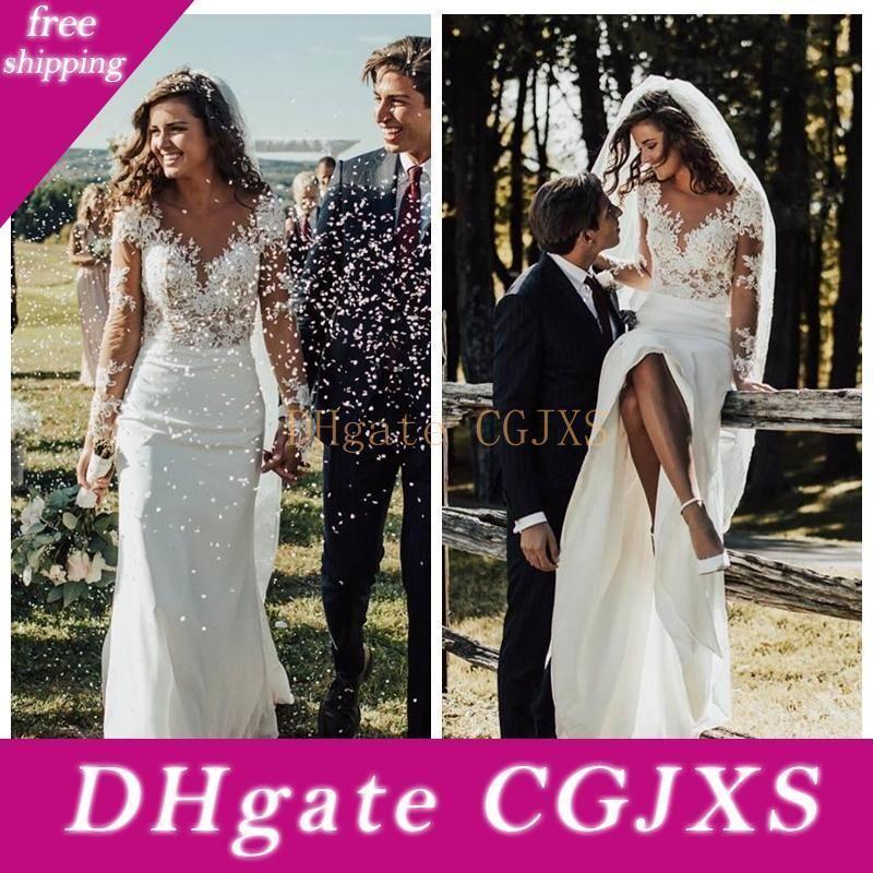 Sheer mangas compridas magros vestidos de noiva sereia 2019 Modest Lace apliques Magro Jardim vestidos de noiva personalizado Formal longa túnica De Mariee