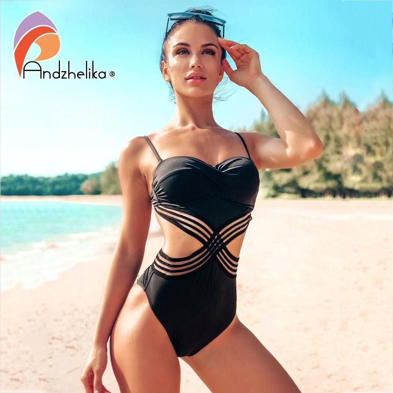 Andzhelika Sexy One-piece Badeanzug Push-Up-Patchwork Mesh-Backless Badebekleidungs-Strand Monokini Damen-Badeanzug